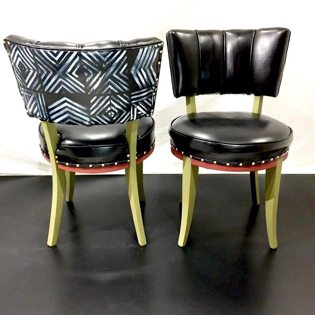 Image of Vintage Tribal Vinyl Side Chairs - Pair
