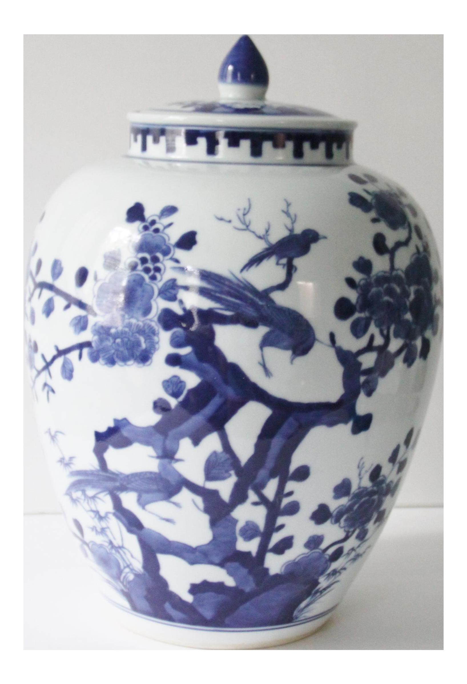 Blue And White Jars Part - 28: Blue U0026 White Porcelain Bird Temple Jar - Image 1 ...