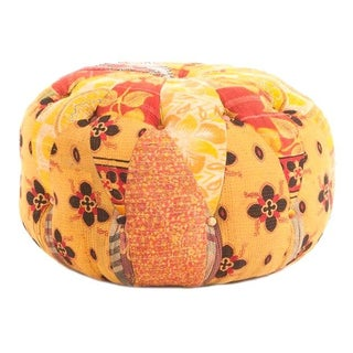 Vintage Yellow and Orange Kantha Poof