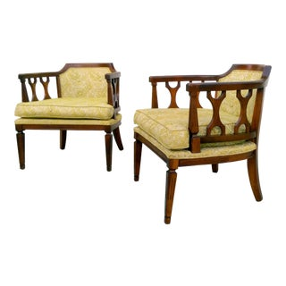 Vintage Key Lime Lattice Barrel Chairs- A Pair