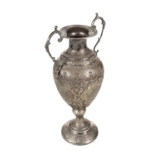 19th Century Persian Hand Chased Silver Urn