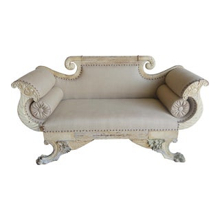 19th Century Italian Painted Carved Settee