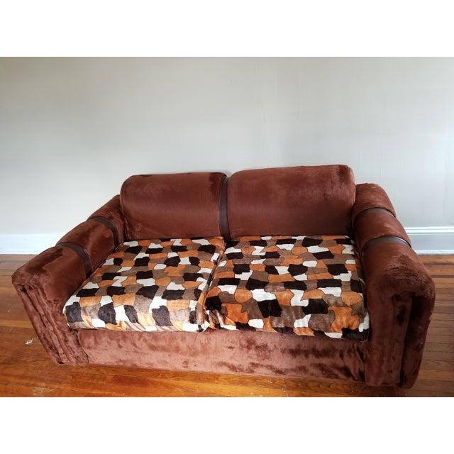1970s Vintage Brown Fur/Orange Patchwork Pattern Loveseat - Image 2 of 6