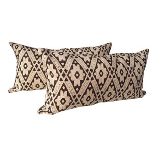 Brown & White Pattern Bolsters - a Pair