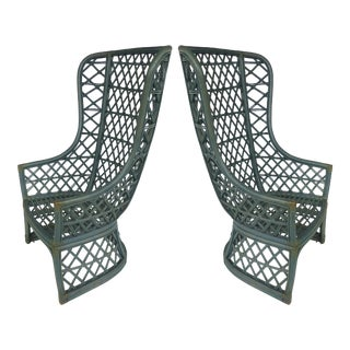 Brown Jordan Vintage High Back Painted Rattan Chairs- A Pair