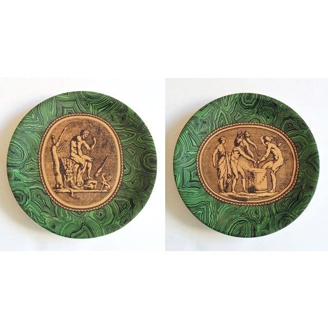 Vintage Piero Fornasetti Malachite Plates - Pair - Image 2 of 5