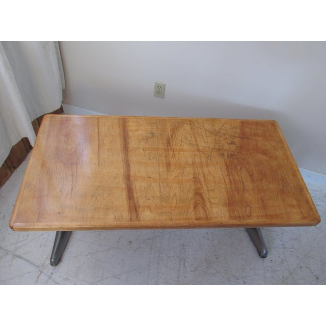 Vintage Institutional Style Maple & Steel Coffee Table - Image 7 of 10