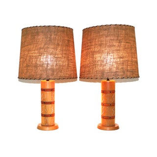 Cerused Oak & Leather Lamps - A Pair