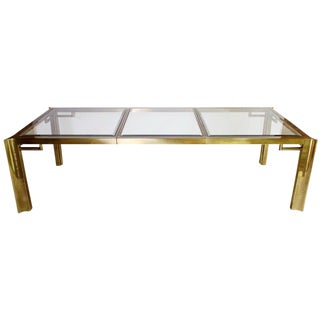 Mastercraft Expandable Brass and Glass Dining Table