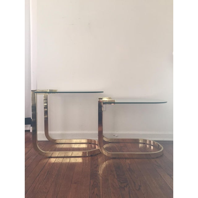 Milo Baughman Cantilevered Brass Nesting Tables - Image 4 of 10