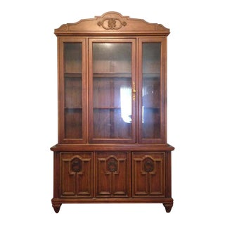 Carved Oak Three-Door Glass Front China Cabinet