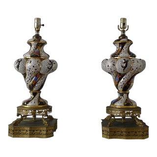 Vintage Italian Bombastic Style Porcelain Lamps - A Pair