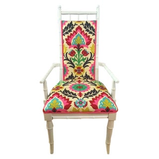 White Bamboo Suzani Accent Chair