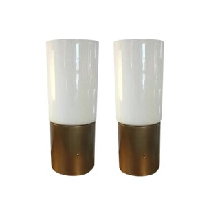 Open Top Glass Tube Table Lamps - A Pair