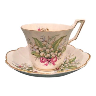 "Antique Regency Bone China ""Lily of the Valley"" Teacup & Saucer"