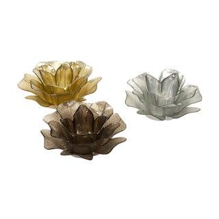 Glass Floral Votives - Set of 3