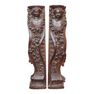 PAIR OF LARGE 17TH CENTURY CARYATID WALL APPLIQUES