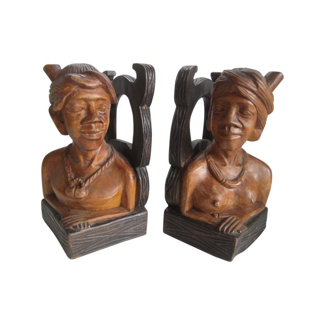 Hand Carved Wooden Bookends - Image 1 of 11