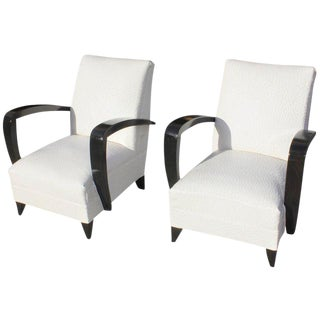 Circa 1940s French Art Deco Ebony Wood Club Armchairs - A Pair