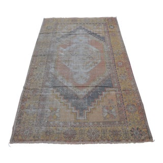 Turkish Faded Handmade Carpet - 3′9″ × 6′9″