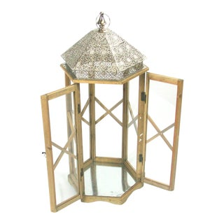Tall Rustic Bohemian Candle Lantern with Lace Metal Roof