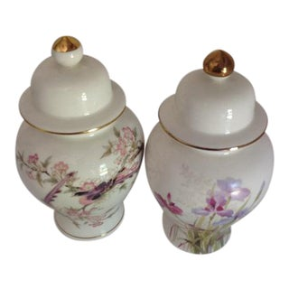 Vintage Japanese Fine China Bouquet & Birds Ginger Jars - A Pair