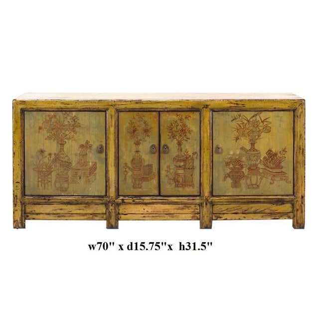 Yellow & Green Floral Sideboard or Buffet Table - Image 5 of 5