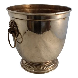 Vintage Silver Plate Lions' Heads Ice Bucket