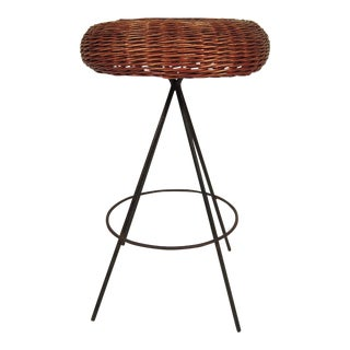 Mid-Century Modern Wicker and Metal Stool