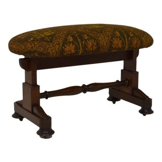 19th-Century Oval Mahogany Upholstered Stool