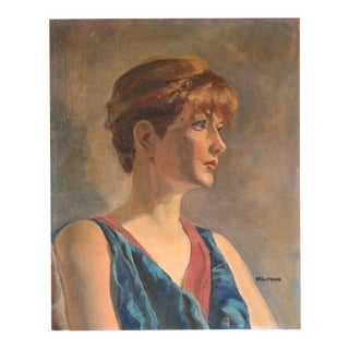 Signed Vintage Oil Portrait Painting of Woman