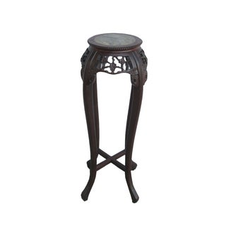 Chinese Wood Marble Top Round Plant Stand