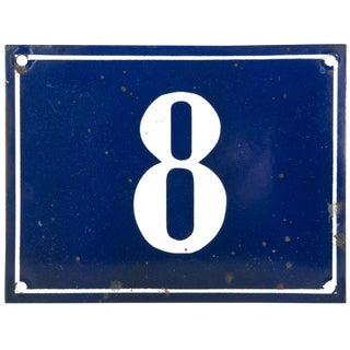 Vintage French Enamel House Number 8