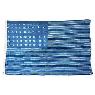 Boho Chic Custom Tailored Blue & White Flag From African Textiles