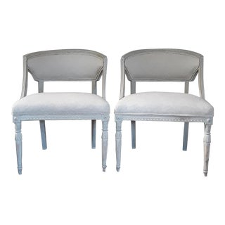 Pair of Swedish Gustavian Barrel Chairs