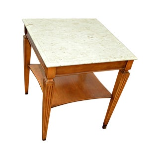 Traditional Square Side Table with Marble Top