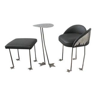 Nickel & Brass Ostrich Chair Table Set
