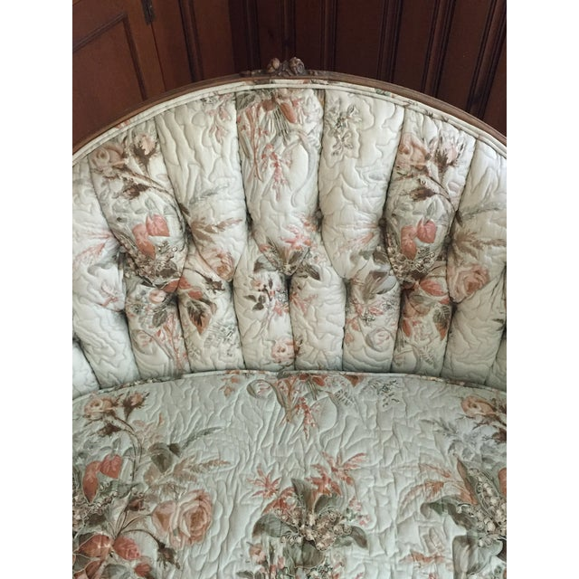 French Country Louis XV Style Carved Walnut Silk Settee & Chair - A Pair - Image 11 of 11