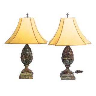 Pair of Kreiss Faux Alabaster Pineapple Lamps
