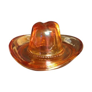 Carnival Glass Ten Gallon Hat Ash Tray
