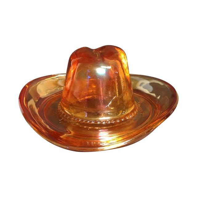 Image of Carnival Glass Ten Gallon Hat Ash Tray