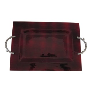 Red Glass Serving Tray with Metal Twig Handles