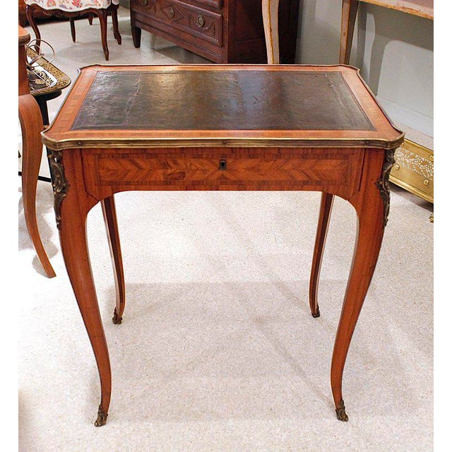 French Louis XV Style Brass Bound Marquetry Occasional Table - Image 10 of 11