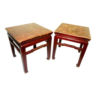 C. 1800-1849 Chinese Ming Bench End Table - A Pair