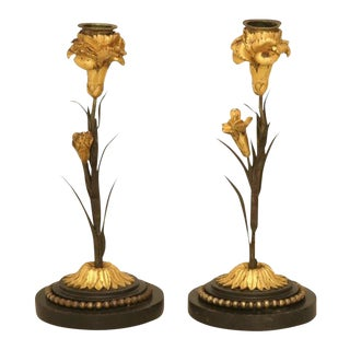 Antique French Dore Candlesticks - A Pair