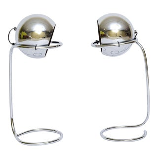 Exciting 1960s Articulated Chrome Ball Table Lamps