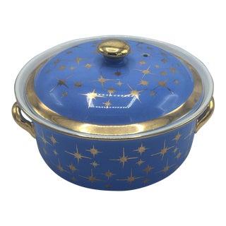 Hall Starburst Atomic Blue Gold Covered Casserole