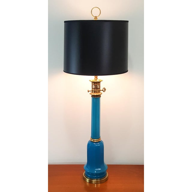 Image of Warren Kessler NY Mid-Century Blue Opaline Murano Glass Lamp