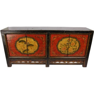 Mongolian Hand-Painted Floral Sideboard