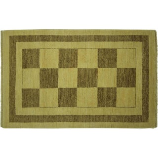 "Hand Knotted Checked Gabbeh Rug - 3'1"" x 4'8"""